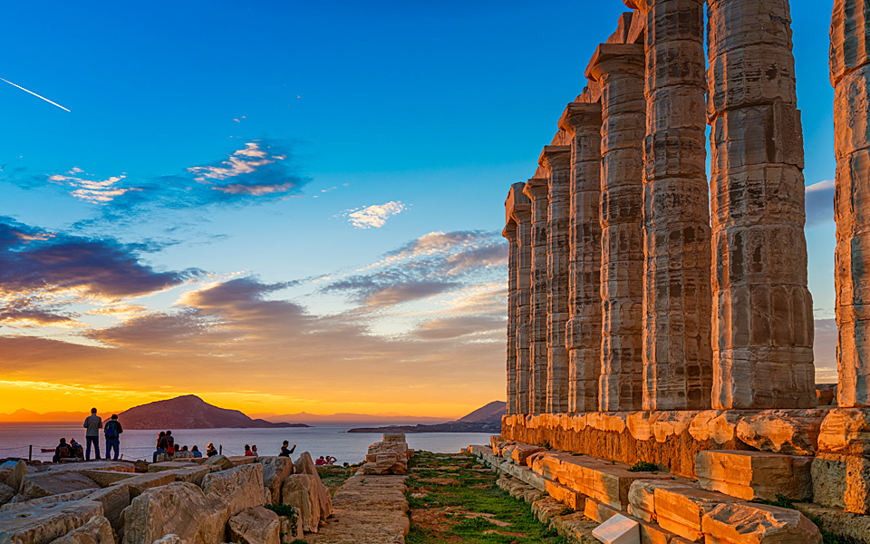 sunset at Cape Sounion with the temple of Poseidon