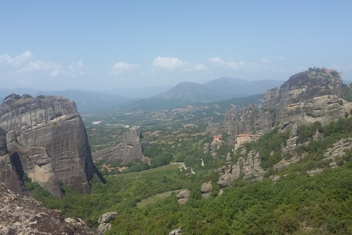 panoramic view of meteora monasteries