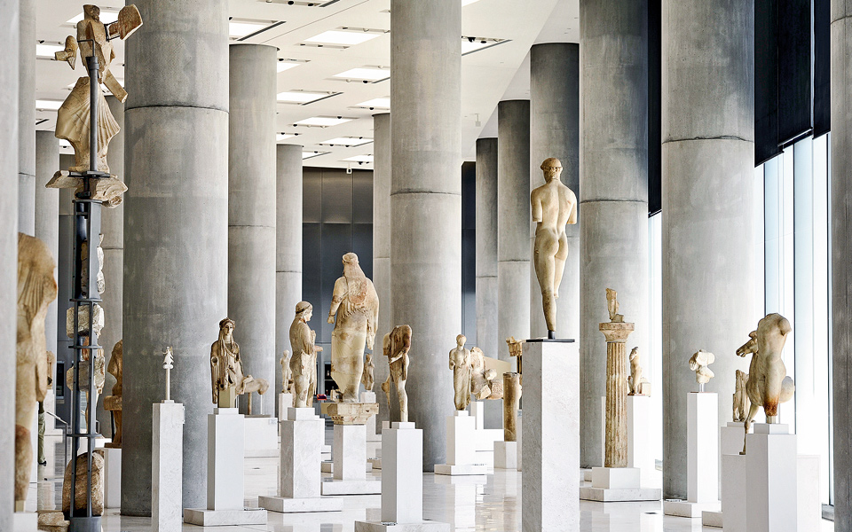 statues inside the Acropolis Museum