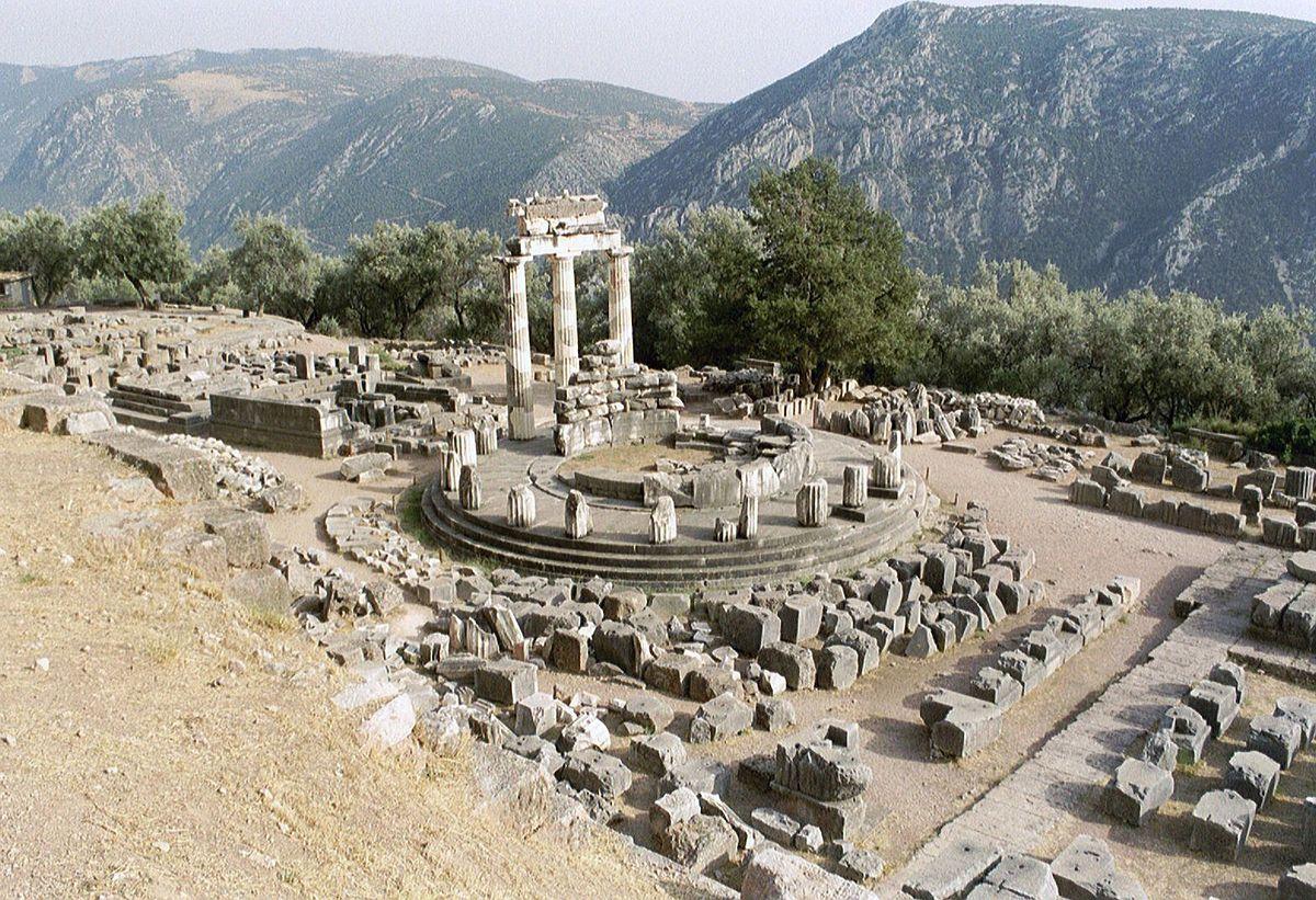 Tholos temple in Delphi