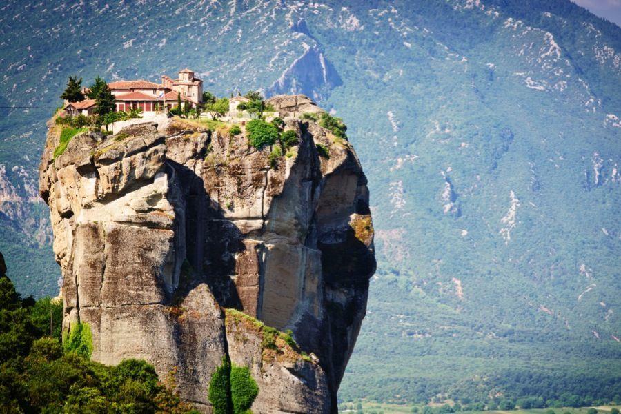 a monastery o a rock in meteora