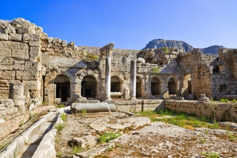 roman baths in ancient corinth